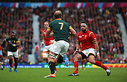 South Africa's Schalk Burger on the attack during the Rugby World Cup Quarter Final match between South Africa and Wales at Twickenham, Richmond, United Kingdom on 17 October 2015. Photo by Matthew Redman.