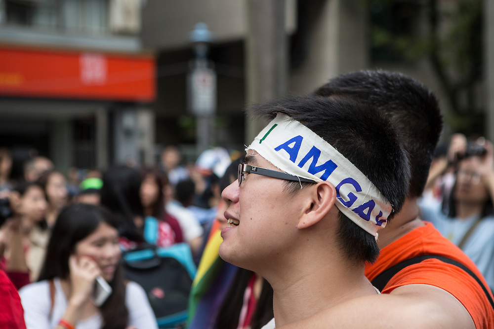 "Gay and proud at Taiwan's gay pride march. The annual march through Taipei's city streets is the largest in Asia, with well over 50 000 people taking part. The 2014 event had the theme ""Walk in Queer's Shoes"", to encourage the wider community to lend their support for equal marriage rights."