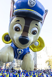 November 22, 2018 - New York, New York, United States - Chase by Paw Patrol giant balloon floats at 92nd Annual Macy's Thanksgiving Day Parade on the streets of Manhattan in frigid weather (Credit Image: © Lev Radin/Pacific Press via ZUMA Wire)