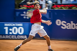 April 28, 2018 - Barcelona, Catalonia, Spain - STEFANOS TSITSIPAS (GRE) returns the ball to Pablo Carreno Busta (ESP) in their semi-final of the 'Barcelona Open Banc Sabadell' 2018. Tsitsipas won 7:5, 6:3 (Credit Image: © Matthias Oesterle via ZUMA Wire)