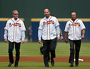 ATLANTA, GA - OCTOBER 2:  Former Atlanta Braves pitchers (from left to right) Tom Glavine, John Smoltz and Greg Maddux walk on the field during pre-game ceremonies to honor the last game at Turner Field during the game between the Detroit Tigers and the Atlanta Braves on Sunday, October 2, 2016 in Atlanta, Georgia. (Photo by Mike Zarrilli/MLB Photos via Getty Images) *** Local Caption ***