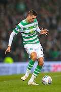 Mikael Lustig (#23) of Celtic plays a short pass during the Betfred Cup Final between Celtic and Aberdeen at Celtic Park, Glasgow, Scotland on 2 December 2018.