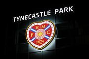 23rd January 2019, Tynecastle Park, Edinburgh, Scotland; Ladbrokes Premiership football, Heart of Midlothian versus Dundee; Hearts crest at Tynecastle Park
