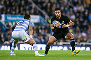 Buenos Aires (Bs. As. Province, ARGENTINA), September 29, 2018: Richie Mo'unga from All Blacks runs with the ball during the International rugby match during the Rugby Championship between Argentina v New Zealand at José Amalfitani Stadium, on Saturday, September 29, 2018 in Buenos Aires, Argentina. <br /> Copyright photo: Pablo A. Gasparini / www.photosport.nz