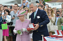 HM The QUEEN and ARNAUD BAMBERGER at the Cartier Queen's Cup Polo final at Guard's Polo Club, Smiths Lawn, Windsor Great Park, Egham, Surrey on 14th June 2015