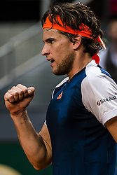 May 14, 2017 - Madrid, Madrid, Spain - DOMINIC THIEM (AUT) celebrates a point against Rafael Nadal (ESP) in the final of the 'Mutua Madrid Open' 2017. Nadal won 7:6, 6:4 (Credit Image: © Matthias Oesterle via ZUMA Wire)