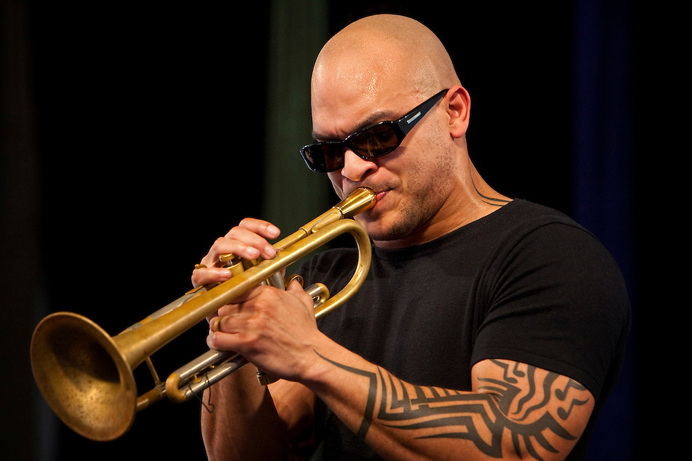 Trumpeter Irvin Mayfield of Irvin Mayfield and the New Orleans Jazz Orchestra performs on the WWOZ Jazz Tent stage at the New Orleans Jazz and Heritage Festival at the New Orleans Fair Grounds Race Course in New Orleans, Louisiana, USA, 1 May 2009.