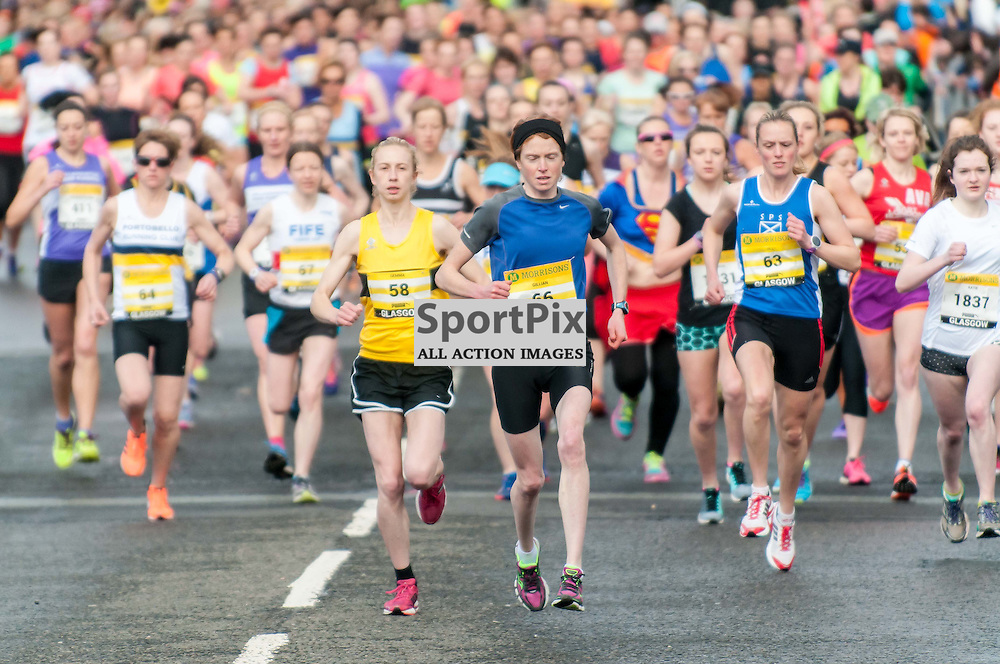 Gemma Rankin(58) the eventual winner, 2nd place Gillian Palmer(66) and 3rd place Jill Knowles(63) lead the runners off the start line. Images from the Great Womens 10km in Glasgow. Photo: Paul J Roberts / sportpix. All Rights Reserved