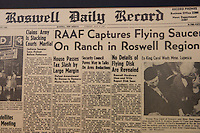 Newspaper headline at UFO Museum, Roswell, New Mexico.