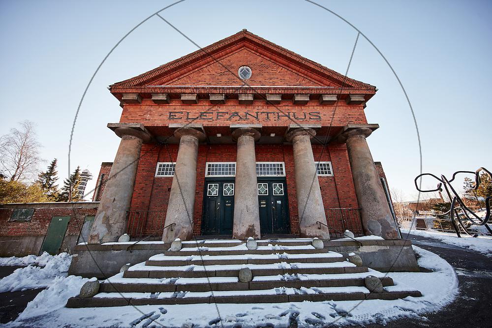 Det gamle Elefanthus, før renovering, før miljøsanering, Københavns Zoo, Københavns Zoologiske have, indgang, indgangstrappe, søjlegang