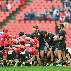 Johannesburg, SOUTH AFRICA, 21, MAY 2016 - during the Super Rugby match between Emirates Lions vs Jaguares ,Emirates Airlines Park,Johannesburg. Lions v Jaguars scrum time. <br /> <br /> South Africa. (Photographer Christiaan Kotze ) -- (Steve Haag Sports) <br /> <br /> Images for social media must have consent from Steve Haag