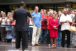 10 August 2009:  LeBron James stops by State Farm Insurance Company Corporate Headquarters in Bloomington Illinois as part of a United Way campaign