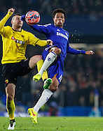 Loic Remy of Chelsea (right) and Daniel Pudil of Watford (left) battle for the ball during the FA Cup match at Stamford Bridge, London<br /> Picture by David Horn/Focus Images Ltd +44 7545 970036<br /> 04/01/2015