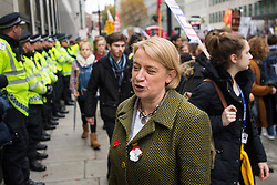 © Licensed to London News Pictures. 04/11/2015. London, UK. Leader of the green party, NATALIE BENNET at the demo. Demonstrators clash with police as Thousands of students take part in a demonstration in central London against tuition fees. The rally which starts outside the University of London Union, will feature a speech from Shadow Chancellor John McDonnell.  Photo credit: Ben Cawthra/LNP