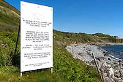 Dean Quarry notice, near St Keverne; Lizard Peninsula, Cornwall, England, UK