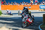 Tony Rees from Whakatane leads the field through the Esses in the Robert Holden Memorial Race at the Cemetery Circuit Road Races, Wanganui, Boxing Day which was the 3rd and final round of the 2014 Suzuki Series