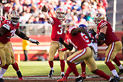 San Francisco 49ers quarterback C.J. Beathard (3) throws a pass to a receiver against the New York Giants at Levi's Stadium in Santa Clara, Calif., on November 12, 2017. (Stan Olszewski/Special to S.F. Examiner)