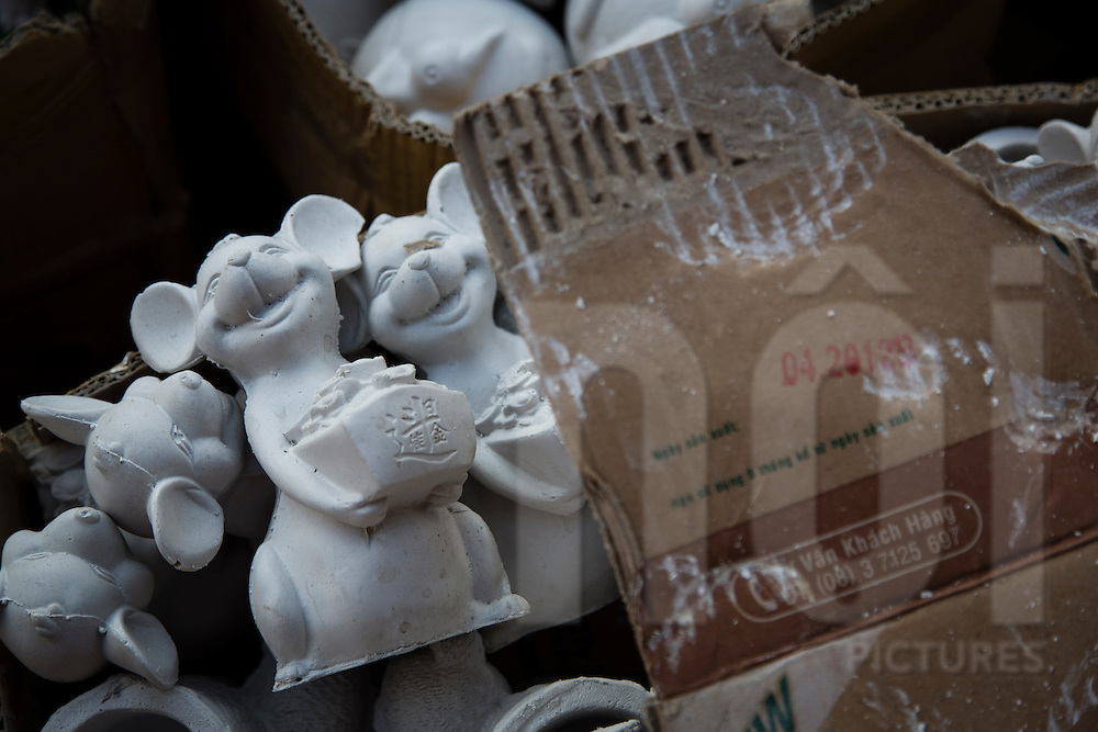 Mice figurines packed in cardboard boxes, Bat Trang ceramic village, Hanoi outskirts, Vietnam, Southeast Asia