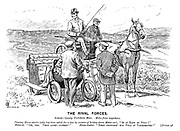"""The Rival Forces. Scene — lonely Yorkshire Moor. Miles from anywhere. Passing horse-dealer (who has been asked for a tow by owners of broken-down motor-car). """"Is it easy to pull?"""" Motorist. """"Oh, yes. Very light indeed!"""" Horse-dealer. """"Then supposin' you pull it yourselves!"""" [Drives off."""