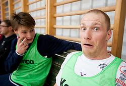Jure Dolenec and Miha Zvizej during practice session of Slovenian Handball Men National Team, on January 11, 2011, in Zrece, Slovenia. (Photo by Vid Ponikvar / Sportida)
