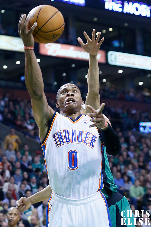 23 November 2012: Oklahoma City Thunder point guard Russell Westbrook (0) goes for the layup during the Boston Celtics 108-100 victory over the Oklahoma City Thunder at the TD Garden, Boston, Massachusetts, USA.