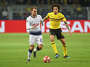 Christian Eriksen of Tottenham Hotspur against Axel Witsel of Borussia Dortmund during the Champions League round of 16, leg 2 of 2 match between Borussia Dortmund and Tottenham Hotspur at Signal Iduna Park, Dortmund, Germany on 5 March 2019.