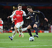 Dinamo Zagreb's Marko Pjaca trying toi take on Arsenal defender Hector Bellerin during the Champions League match between Arsenal and Dinamo Zagreb at the Emirates Stadium, London, England on 24 November 2015. Photo by Matthew Redman.