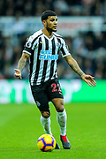 DeAndre Yedlin (#22) of Newcastle United looks for passing options during the Premier League match between Newcastle United and Watford at St. James's Park, Newcastle, England on 3 November 2018.