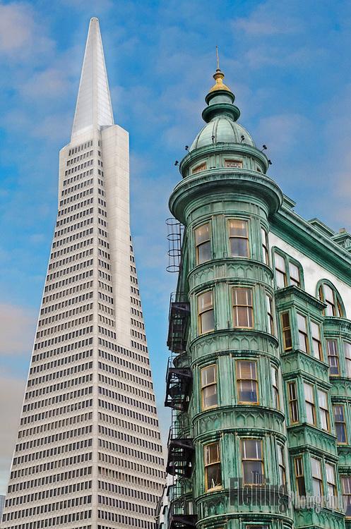 Transamerica building seen from North Beach neighborhood, San Francisco.