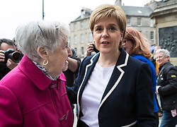 The First Minister, Nicola Sturgeon, campaigning in Leith by campaigning that the SNP will be a voice for young people.<br /> <br /> Pictured: Nicola Sturgeon