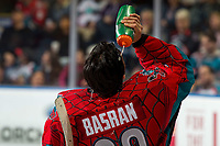 KELOWNA, CANADA - MARCH 16:  Roman Basran #30 of the Kelowna Rockets stands on the ice during a time out against the Vancouver Giants on March 16, 2019 at Prospera Place in Kelowna, British Columbia, Canada.  (Photo by Marissa Baecker/Shoot the Breeze)
