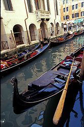 Venice, Italy:  The canals of this lovely city are lined with gondolas of every size and shape.