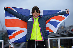 FEB 14 2014 Davinna McCall finishes her  Sport Relief challenge