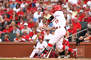 29 June 2010: St. Louis Cardinals shortstop Brendan Ryan (13) makes contact on a pitch during the third inning against the Arizona Diamondbacks at Busch Stadium in St. Louis, Missouri.