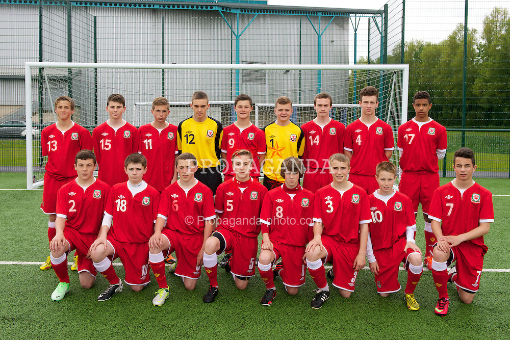 NEWPORT, WALES - Tuesday, May 28, 2013: Regional Development Boys players line up for a team group photograph before the Welsh Football Trust Cymru Cup at Dragon Park. Back row L-R: Joe Lewis, Joe Humphries, Zebb Edwards, goalkeeper Dylan Carron Jones, Liam Cullen, goalkeeper Aaron Jones, Connor Jones, Liam Angel, Tyler Roberts. Front row L-R: Mitch Clarke, Ben Woodburn, Thomas Price, Theo Llewellyn, Cai Williams, Josh Williams, Sam Haddon, Sam Phillips. (Pic by David Rawcliffe/Propaganda)