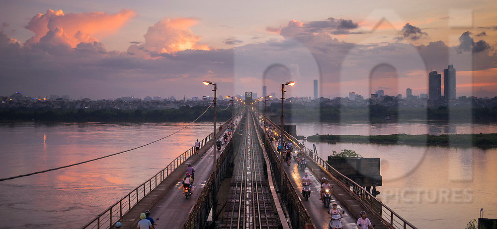 Iconic landmark Long Bien bridge in Hanoi, Vietnam.