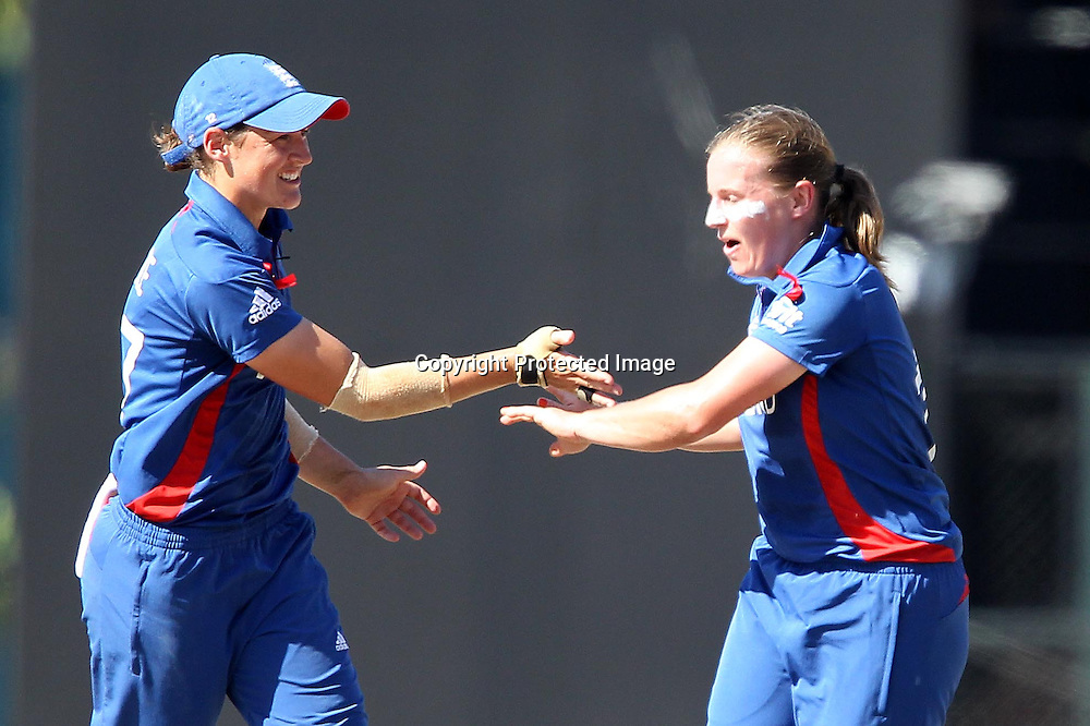 Holly Colvin of England celebrates the wicket of Sara McGlashan of New Zealand  during the ICC Women's World Twenty20 Semi final match between England and New Zealand held at the Premadasa Stadium in Colombo, Sri Lanka on the 4th October  2012<br /> <br /> Photo by Ron Gaunt/SPORTZPICS/PHOTOSPORT