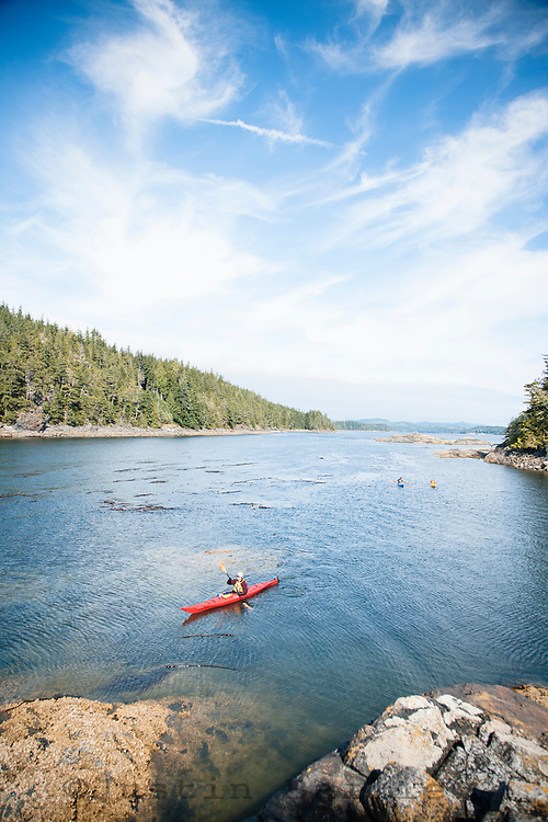 Kayaking out of Farewell Harbour Lodge which is a multi-sport lodge near Johnstone Straight, BC, Canada.