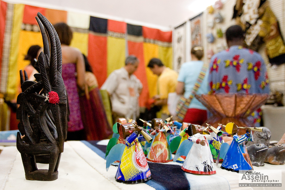 Items for sale in a stand at the 22nd Salon International de l'Artisanat de Ouagadougou (SIAO) in Ouagadougou, Burkina Faso on Saturday November 1, 2008.