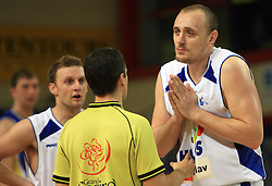Aleksej Laskevic of Helios begging the referee at UPC basketball league match between KK Helios Domzale and Hopsi Polzela, on April 7, 2009, in Domzale, Slovenia. Helios won 80:75. (Photo by Vid Ponikvar / Sportida)
