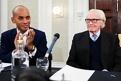 © Licensed to London News Pictures. 27/11/2019. London, UK. Liberal Democrat Foreign Affairs Spokesman and candidate forCities of London & Westminster CHUKA UMUNNA (L) and Former Conservative Deputy Prime Minister, LORD MICHAEL HESELTINE (R) in De Vere Grand Connaught Rooms, Holborn. Britons go to the polls on 12 December in a General Election. Photo credit: Dinendra Haria/LNP