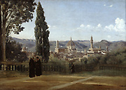 Florence. View from the Boboli Gardens' after 1834. Jean-Baptiste Camille Corot (1796-1875) French painter.  Oil on canvas .