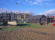 A1X0T9 Fishing sheds and sea front buildings Aldeburgh Suffolk England