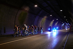 The lead bunch speed through a tunnel during Stage 8 of 2019 Giro Rosa Iccrea, a 133.3 km road race from Vittorio Veneto to Maniago, Italy on July 12, 2019. Photo by Sean Robinson/velofocus.com