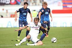 07.08.2016, Voith Arena, Heidenheim, GER, 2. FBL, 1. FC Heidenheim vs FC Erzgebirge Aue, 1. Runde, im Bild Nicky Adler ( FC Erzgebirge Aue ) Mac Schnatterer ( 1.FC Heidenheim ) // during the 2nd German Bundesliga 1st round match between 1. FC Heidenheim and FC Erzgebirge Aue Voith Arena in Heidenheim, Germany on 2016/08/07. EXPA Pictures © 2016, PhotoCredit: EXPA/ Eibner-Pressefoto/ Langer<br /> <br /> *****ATTENTION - OUT of GER*****
