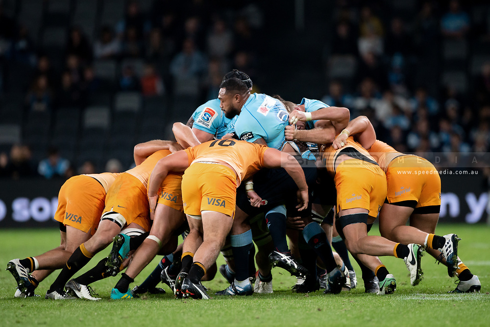 SYDNEY, AUSTRALIA - MAY 25: Jaguares player Agustin Creevy (16) rushes into the ruck hitting Waratahs player Sekope Kepu (3) at week 15 of Super Rugby between NSW Waratahs and Jaguares on May 25, 2019 at Western Sydney Stadium in NSW, Australia. (Photo by Speed Media/Icon Sportswire)