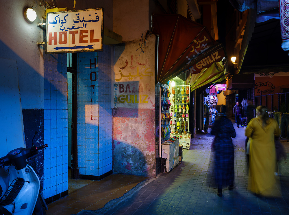 CASABLANCA, MOROCCO - CIRCA APRIL 2017: Women walking on an alleyway of the Medina in  Casablanca