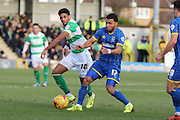 Andy Barcham of AFC Wimbledon gets the better of Shaun Jeffers of Yeovil Town FC during the Sky Bet League 2 match between AFC Wimbledon and Yeovil Town at the Cherry Red Records Stadium, Kingston, England on 30 January 2016. Photo by Stuart Butcher.