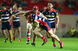 Jason Woodward of Bristol Rugby pushes aside Tom Savage of Gloucester Rugby  - Mandatory by-line: Dougie Allward/JMP - 24/03/2017 - RUGBY - Ashton Gate - Bristol, England - Bristol Rugby v Gloucester Rugby - Aviva Premiership
