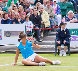 LIVERPOOL, ENGLAND - Saturday, June 20, 2009: 2009 Laura Robson slips and damages her leg below the right knee during the Women's Final at the Tradition ICAP Liverpool International Tennis Tournament at Calderstones Park. (Pic by Stan Tickle/Propaganda)